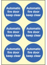 6 x Automatic Fire Door Keep Clear Photoluminescent Labels - 65mm Diameter