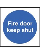 100 x Fire Door Keep Shut Labels - 100 x 100mm
