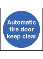 100 x Auto Fire Door Keep Clear Labels - 100 x 100mm