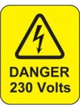 100 x Danger 230 Volts Labels - 40 x 50mm