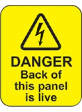 100 x Danger Back of this Panel Is Live Labels - 40 x 50mm
