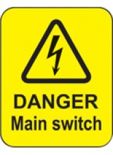 100 x Danger Main Switch Labels - 40 x 50mm