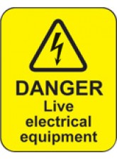 100 x Danger Live Electrical Equipment Labels - 40 x 50mm