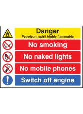 Petroleum Spirit Highly Flammable/no Smoking Etc
