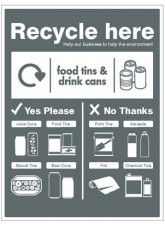 Food tins and drink cans - WRAP Recycle here sign