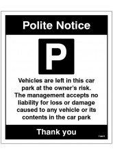 Car park Vehicles are left in the car park at the owner's risk …